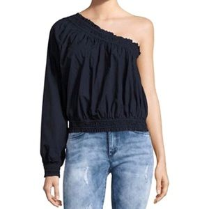 Free People Navy Blue One Shoulder Blouse